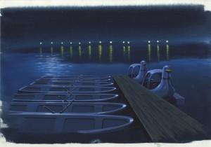 夜のボート桟橋
